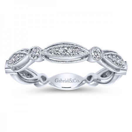 14K WHITE GOLD DIAMOND MILGRAIN BAND