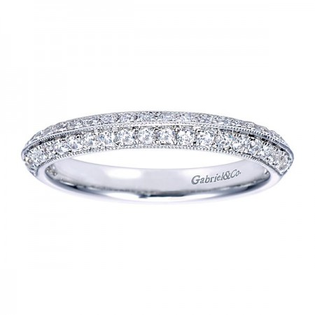 14K WHITE GOLD DIAMOND ANTIQUE-STYLE MILGRAIN BORDERS AND KNIFE EDGE ANNIVERSARY BAND