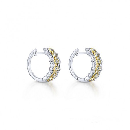 14K YELLOW AND WHITE GOLD DIAMOND HUGGIE EARRINGS