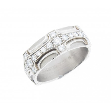 FURRER JACOT 18K WHITE GOLD DIAMOND CROSS DESIGN RING