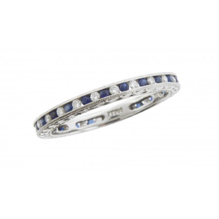 Gabriel and Co Platinum Diamond & Sapphire Eternity Ring