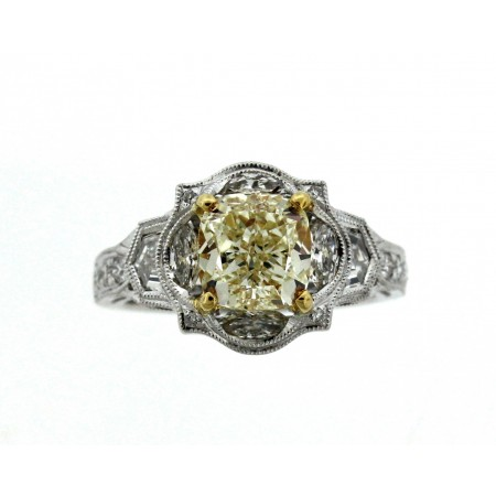 2.06 CARAT NATURAL FANCY LIGHT YELLOW CUSHION CUT DIAMOND ENGAGEMENT RING