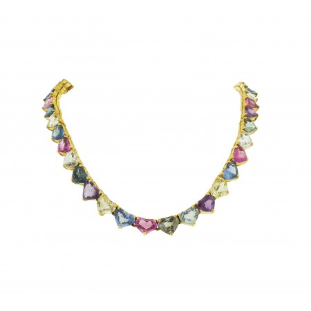 14K YELLOW GOLD MULTI COLOR NO HEAT BURMA SAPPHIRE HEART NECKLACE