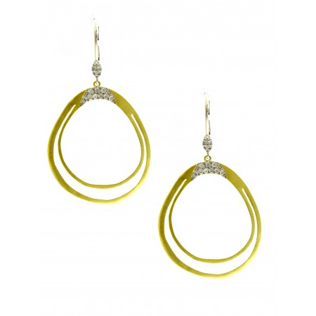 14K YELLOW AND WHITE GOLD DIAMOND DANGLE EARRINGS