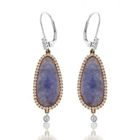 14K ROSE AND WHITE GOLD TANZANITE AND DIAMOND DANGLE EARRINGS