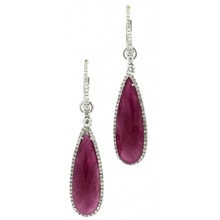 PLATINUM AND WHITE GOLD RUBY AND DIAMOND DANGLE EARRINGS