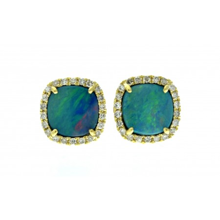 14K YELLOW GOLD OPAL AND DIAMOND STUD EARRINGS