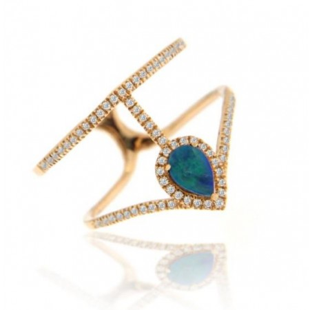 14K ROSE GOLD OPAL AND DIAMOND FASHION RING