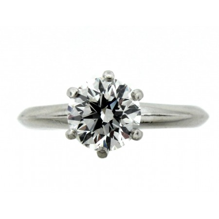Platinum Tiffany & Co 1.30ct Round Brilliant Diamond Solitaire Engagement Ring