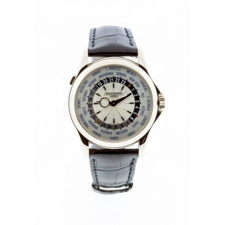 PRE-OWNED PATEK PHILIPPE WORLD TIME 5130G 18K WHITE GOLD
