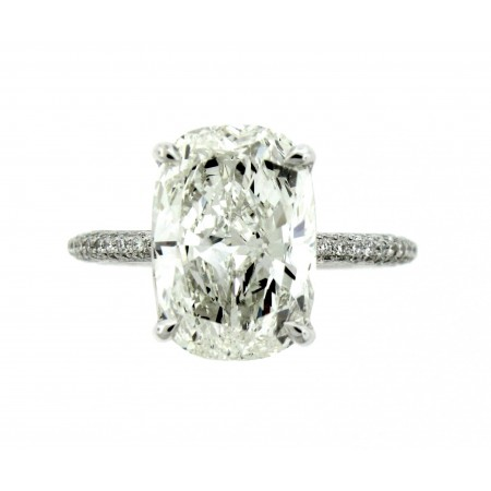 18K White Gold 4.01CT Cushion Cut Diamond Engagement Ring
