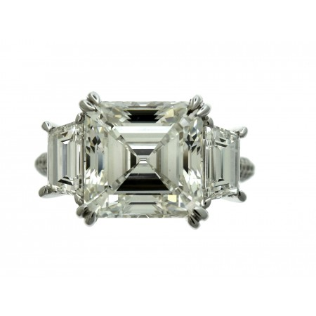 18K WHITE GOLD 6.07CT ASSCHER CUT DIAMOND ENGAGEMENT RING