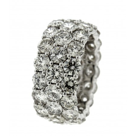 18K White Gold 10.25 Carat 3 Row Eternity Band