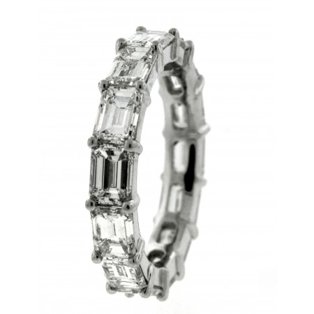 Platinum 7.39 Carat Emerald Cut Diamond Eternity Band