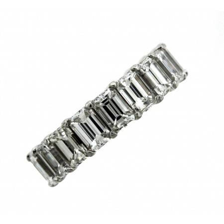 Platinum 6.56 Carat Emerald Cut Diamond Eternity Band