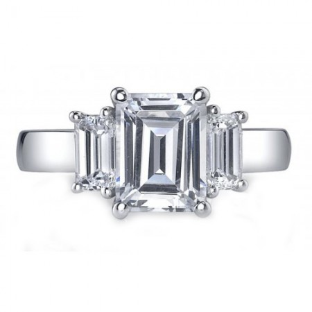 18K White Gold 3 stone Emerald Cut Diamond Engagement Ring Setting