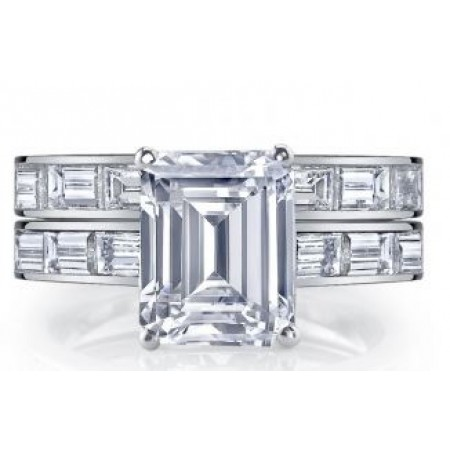 18K White Gold Emerald Cut Diamond Engagement Ring Setting with Wedding Band