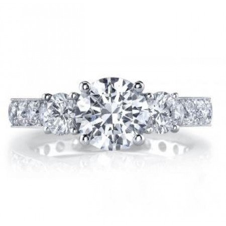 18K White Gold 3 Stone Diamond Engagement Ring