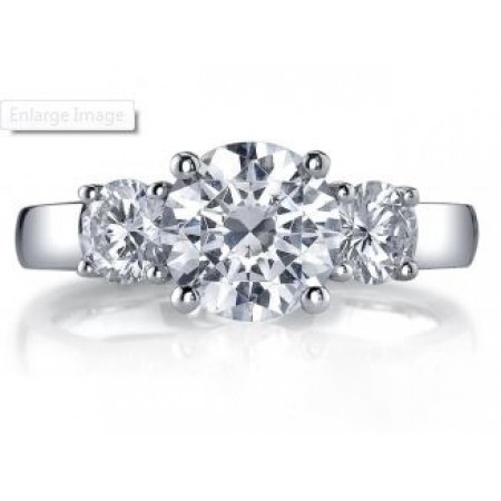 18K White Gold Round 3 Stone Engagement Ring Setting