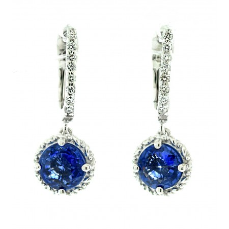 18K WHITE GOLD SAPPHIRE AND DIAMOND DANGLE EARRINGS