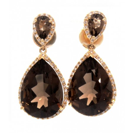18K YELLOW GOLD SMOKEY QUARTZ AND DIAMOND EARRINGS