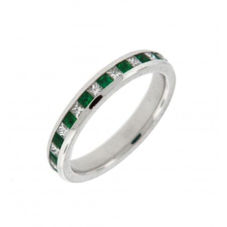 14K WHITE GOLD EMERALD AND DIAMOND ETERNITY BAND