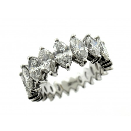 18K WHITE GOLD 4.89CT MARQUISE CUT DIAMOND ETERNITY BAND