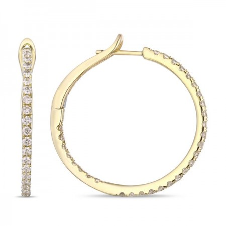 14K YELLOW GOLD DIAMOND IN\OUT HOOP EARRINGS