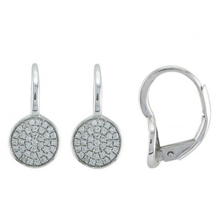 14K WHITE GOLD DIAMOND LEVER BACK EARRINGS