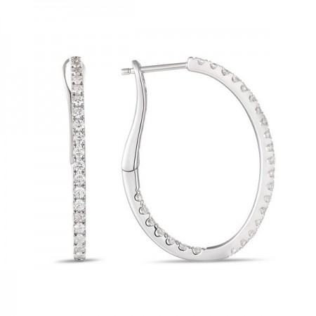 14K WHITE GOLD DIAMOND IN\OUT OVAL HOOP EARRINGS