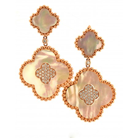 14K ROSE GOLD MOTHER OF PEARL AND DIAMOND DANGLE CLOVER EARRINGS