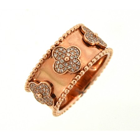 14K ROSE GOLD DIAMOND FLOWER BAND