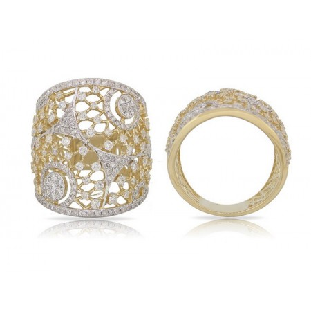 14K YELLOW GOLD DIAMOND FASHION RING