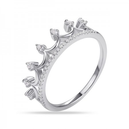 14K WHITE GOLD FASHION CROWN RING