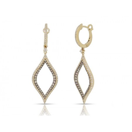 14K YELLOW GOLD DIAMOND TEAR DROP EARRINGS