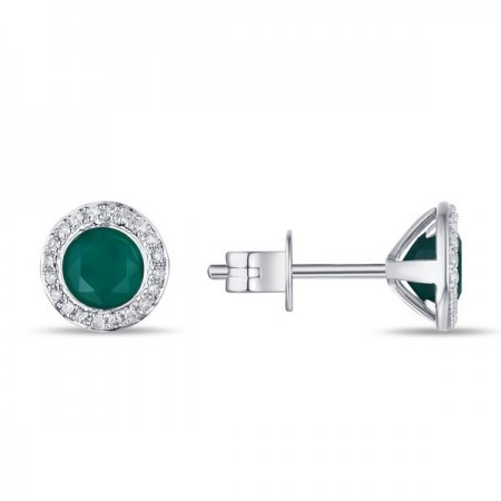 14K WHITE GOLD GREEN AGATE AND DIAMOND STUD EARRINGS