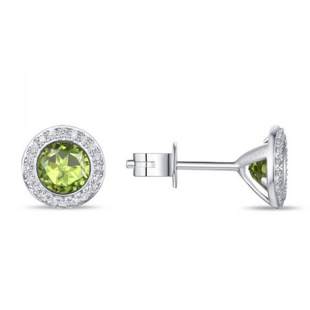 14K WHITE GOLD PERIDOT AND DIAMOND STUD EARRINGS