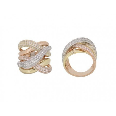 14K Yellow, White and Rose Gold Diamond Fashion Ring