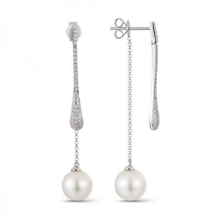 14K WHITE GOLD PEARL AND DIAMOND DANGLE EARRINGS
