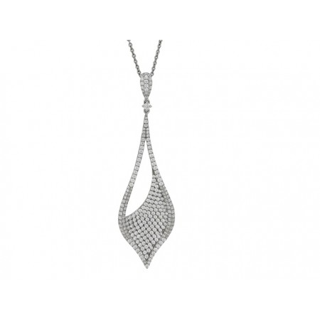 14K WHITE GOLD DIAMOND TEAR DROP PENDANT