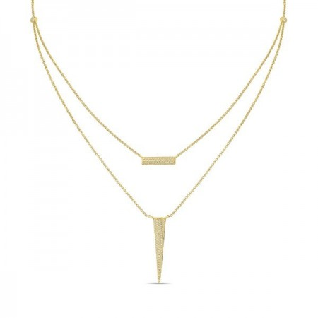 14K YELLOW GOLD DOUBLE CHAIN DIAMOND NECKLACE