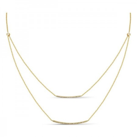 14K ADJUSTABLE YELLOW GOLD DIAMOND FASHION DOUBLE BAR NECKLACE