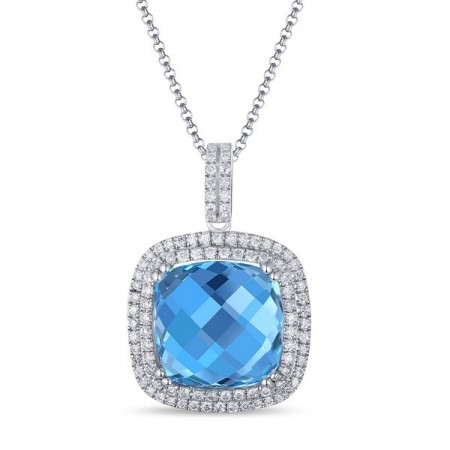 14K WHITE GOLD TOPAZ AND DIAMOND PENDANT