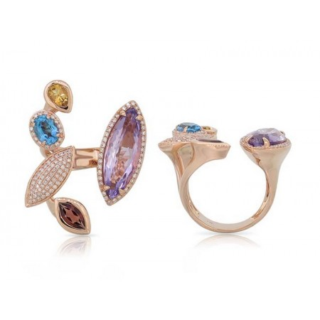 14K ROSE GOLD GEMSTONE AND DIAMOND FASHION RING
