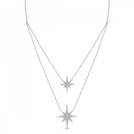 14K WHITE GOLD DIAMOND STAR DOUBLE LAYER NECKLACE
