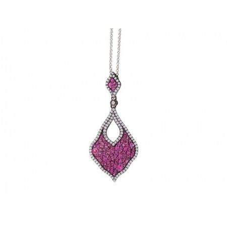Luvente 14K Rose Gold Pink Sapphire and Diamond Pendant