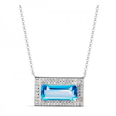14K WHITE GOLD TOPAZ AND DIAMOND NECKLACE