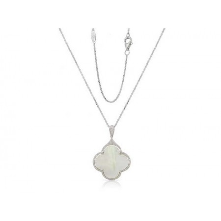 14K WHITE GOLD MOTHER OF PEARL AND DIAMOND PENDANT