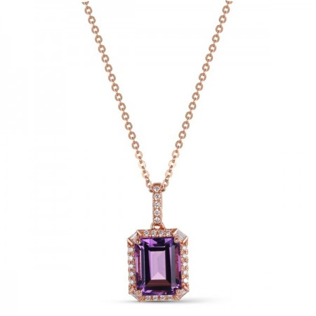 14K ROSE GOLD 2.68CT AMETHYST AND DIAMOND PENDANT