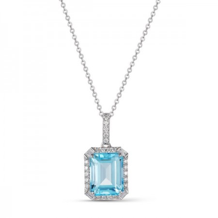 14K WHITE GOLD 3.52CT TOPAZ AND DIAMOND PENDANT